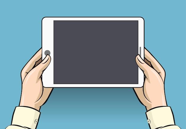 タブレットコンピュータを保持している手。スクリーンデジタルディスプレイ、タッチスクリーンおよびデバイス 無料ベクター