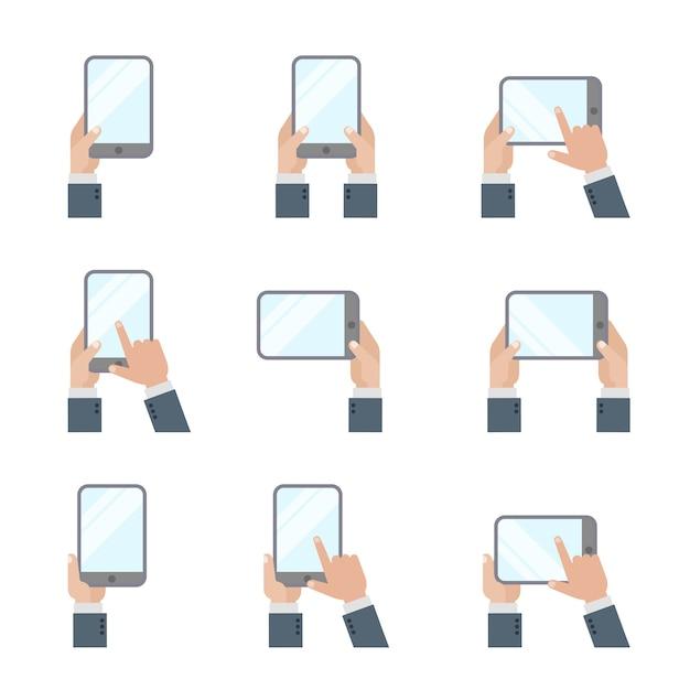 タブレットpcスマートフォンを持っている手画面アイコンに触れるフラットスタイルの携帯電話とデジタルタブレットのジェスチャーの兆候。 無料ベクター