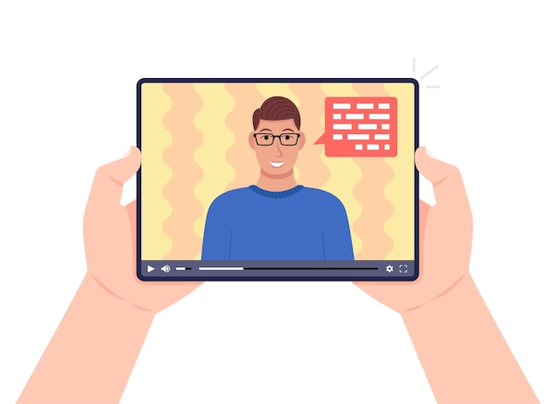 Hands holding tablet with video online webinar on the screen. man talking on video. online learning, e-learning concept. Premium Vector