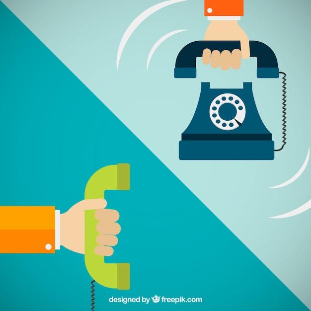 Hands holding telephones Free Vector