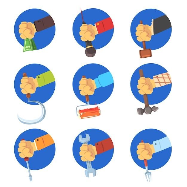 ツールセットを保持している手、白い背景の上の職業のアバターイラスト、職業のシンボルと手をマンします。 Premiumベクター
