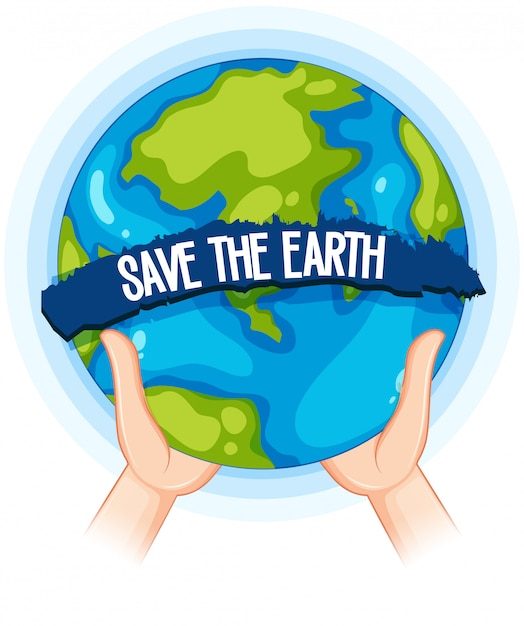 Hands holding up earth poster Premium Vector