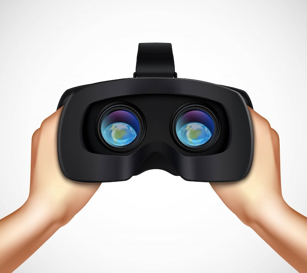 Hands holding virtual augmented reality headset istic Free Vector