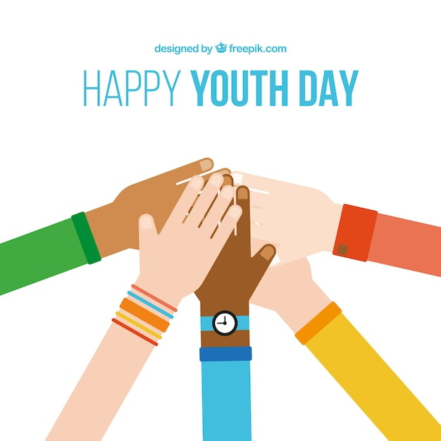 hands in flat design youth day background vector free download