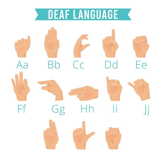 Premium Vector Hands Language Deaf Human Gestures Alphabet Emoji Of Hands Palm Fingers Pointing Hold Vector Illustrations Set Deaf Language Hand Finger Gesture For Communicate