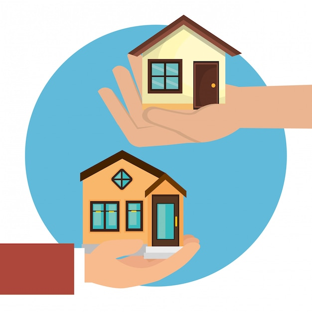 Hands lifting houses icon Free Vector