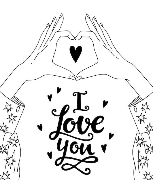 Hands making heart sign Premium Vector