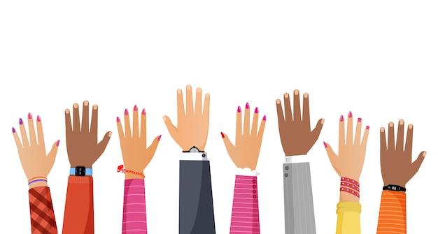 Руки разного цвета кожи и различных рас людей, поднимая вверх плоской иллюстрации. Premium векторы
