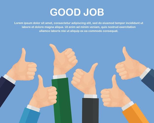 Руки многих бизнесменов с большими пальцами руки вверх. положительный отзыв Premium векторы