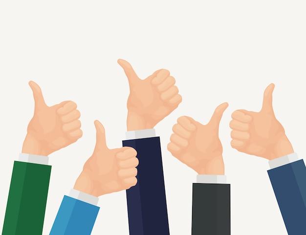 親指を立てた多くのビジネスマンの手。正のフィードバック Premiumベクター