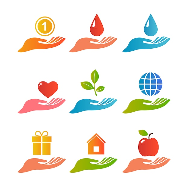 Hands palm up icon set Free Vector
