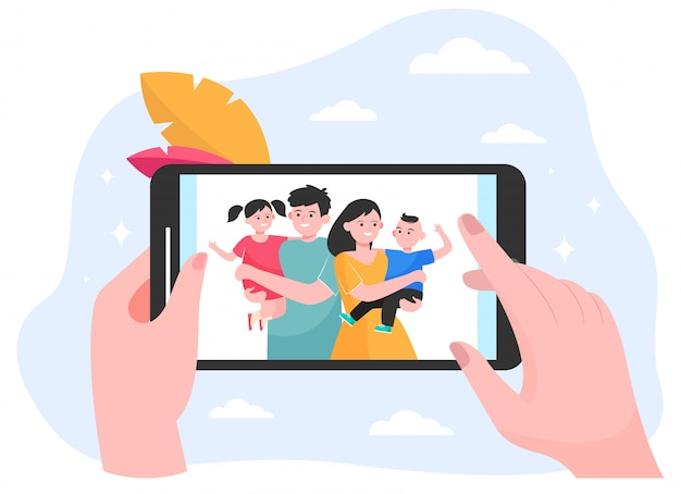 Hands of person watching family and children photo Free Vector