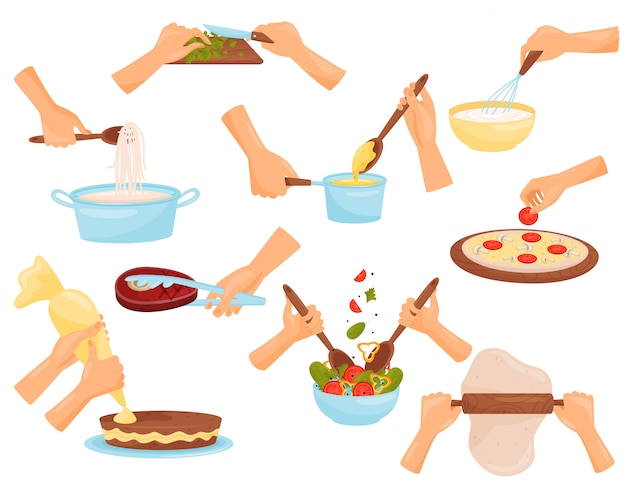 Hands preparing food, process of cooking pasta, meat, pizza, confectionery  illustration on a white background Premium Vector