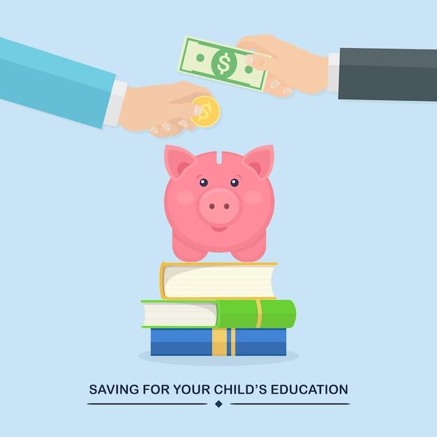 手は金貨を入れ、貯金箱に現金を入れます。教育投資。本の山、勉強のための節約 Premiumベクター