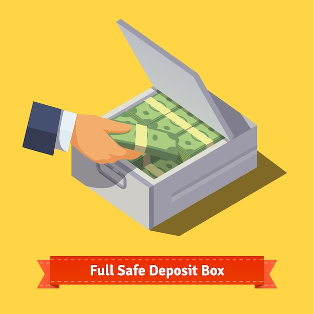 Hands putting cash stack to a safe deposit box Free Vector
