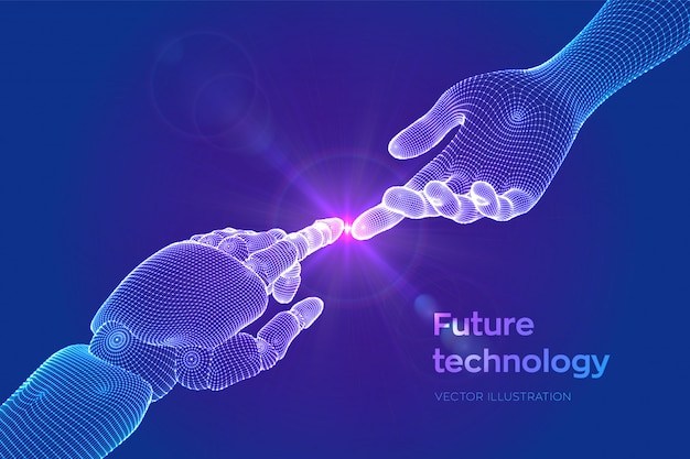 Hands of robot and human touching. Premium Vector