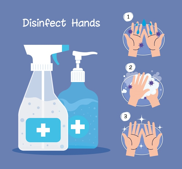 Hands sanitizer bottles and hands washing steps Premium Vector