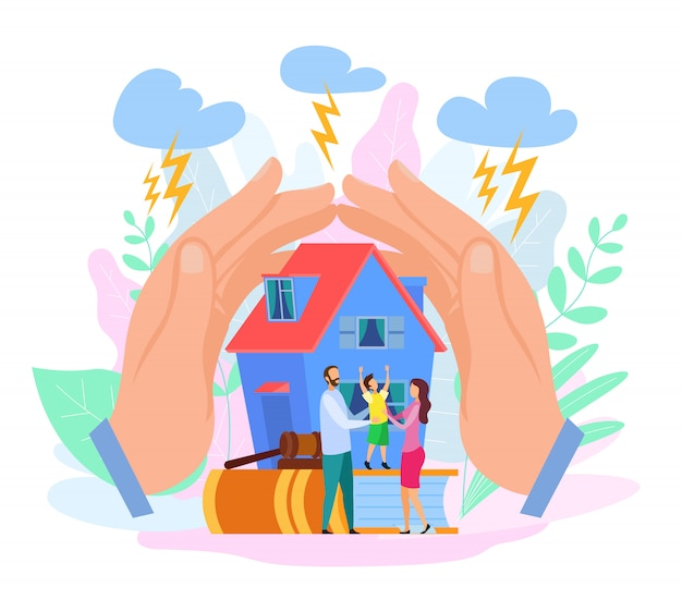 Hands shield house and people Premium Vector