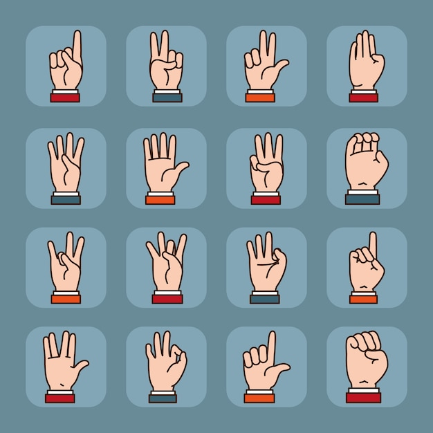 手話言語と表現のアイコンセット。 Premiumベクター