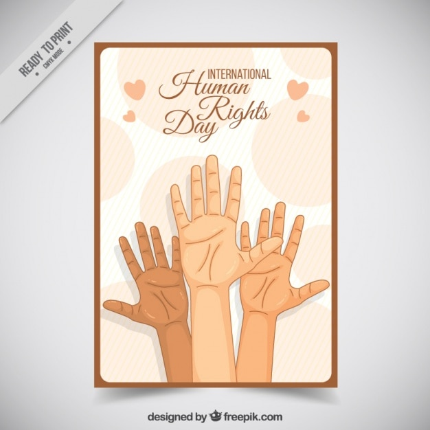 Hands sketches human rights day card