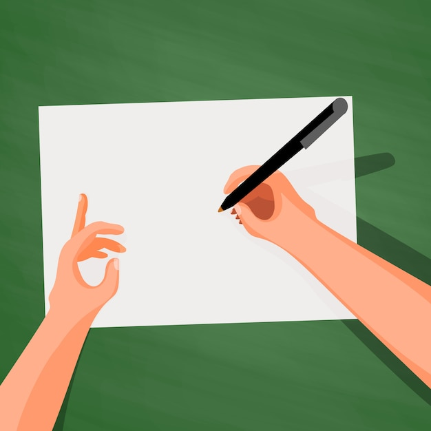 Hands on the table writing on a sheet of paper Premium Vector