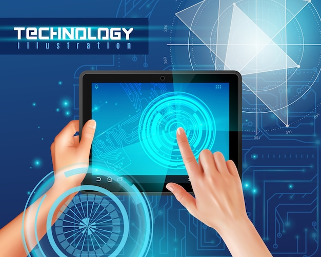 Hands on tablet touchscreen realistic top view image against blue glossy abstract digital technology Free Vector
