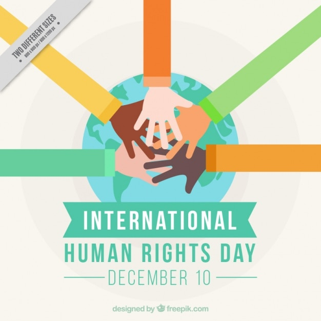 Hands together for international human rights day Free Vector