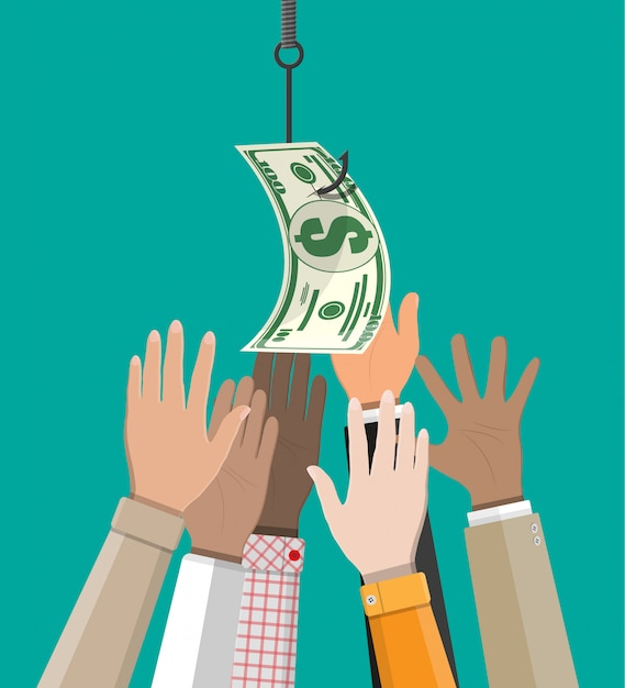 Hands trying to get dollar on fishing hook. Premium Vector