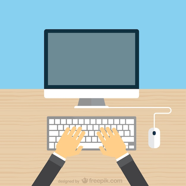 Hands typing on keyboard Free Vector