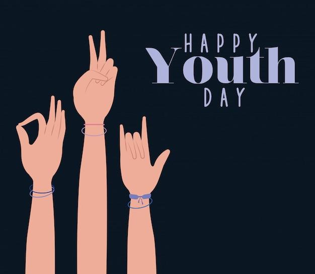 Руки вверх счастливого дня молодости Premium векторы