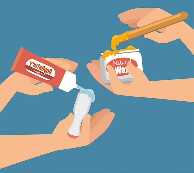 Hands using hair removal product Free Vector