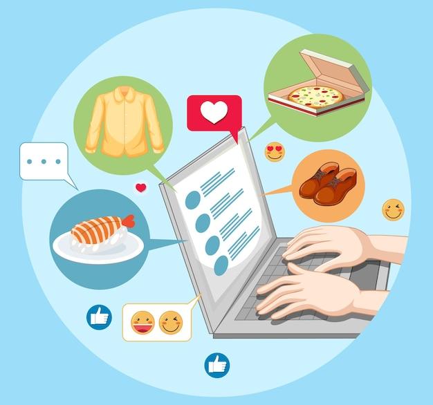 Руки, использующие ноутбук с иконкой emoji в социальных сетях, изолированной на белом Бесплатные векторы