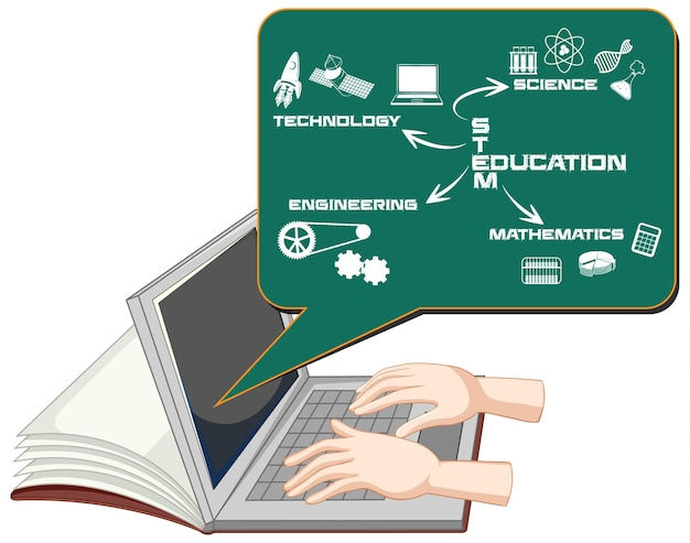 Hands using laptop with stem education cartoon style isolated Free Vector