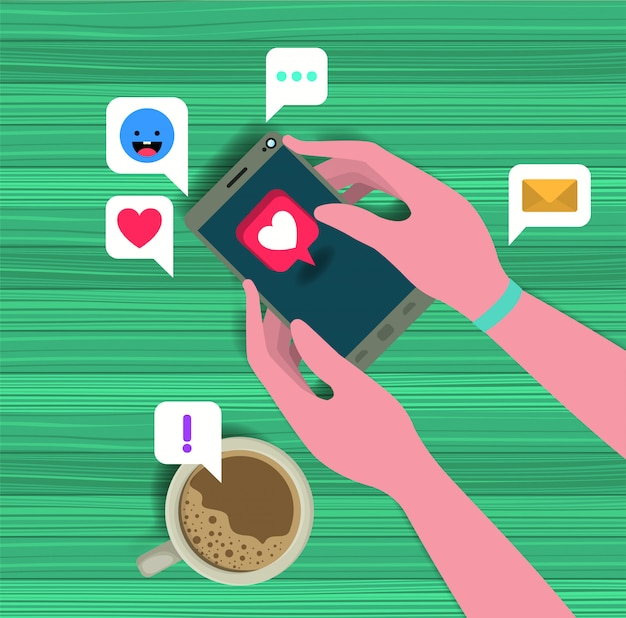 Hands using smartphone with coffee cup and social icons Premium Vector