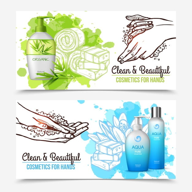 Hands washing banners Free Vector