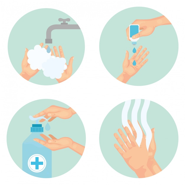 Hands washing technique using sanitizer , disinfects clean antibacterial and hygiene theme  illustration Premium Vector