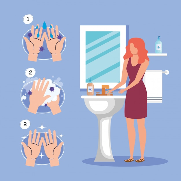 Hands washing technique and woman avatar , disinfects clean antibacterial and hygiene theme  illustration Premium Vector