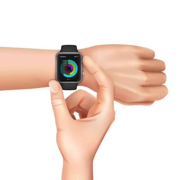 Руки с черными умными часами с цветовой схемой на экране реалистично на белом Бесплатные векторы