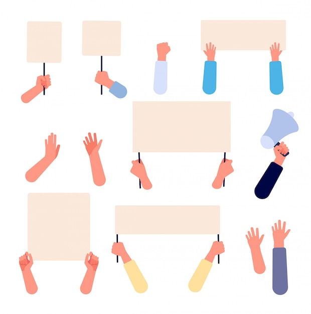 Hands with blank placard. people holding protests banners, activists protesters manifestation empty signs. flat vector isolated set Premium Vector