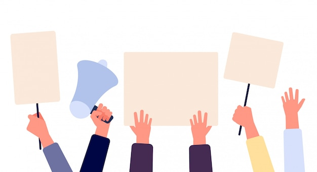Hands with blank placard. people holding protests banners, activists with empty vote signs. election campaigning vector concept Premium Vector