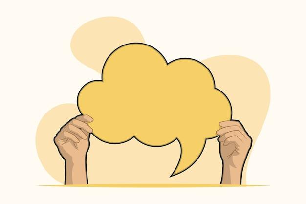 Руки с пустой концепцией речи пузырь Premium векторы