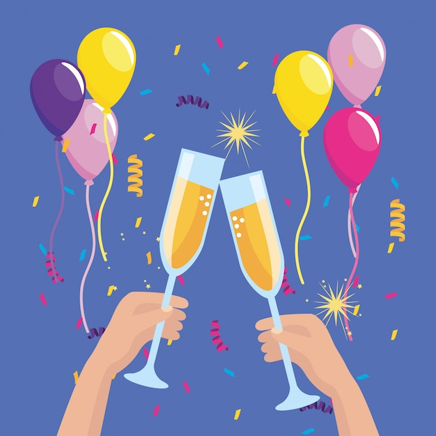 Hands with champagne glass and balloons with confetti Free Vector