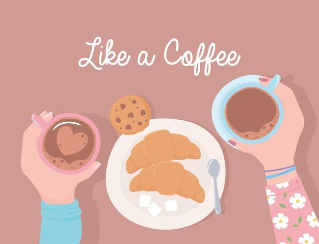 Руки с кофейными чашками, печеньем, круассаном и сахаром, как иллюстрация кофе Premium векторы