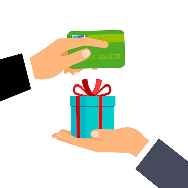 Hands with credit card and gift Premium Vector