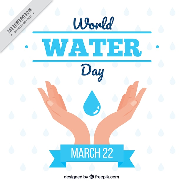 Hands with drop of water background Free Vector
