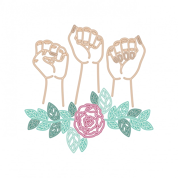 Hands with flower avatar character Premium Vector
