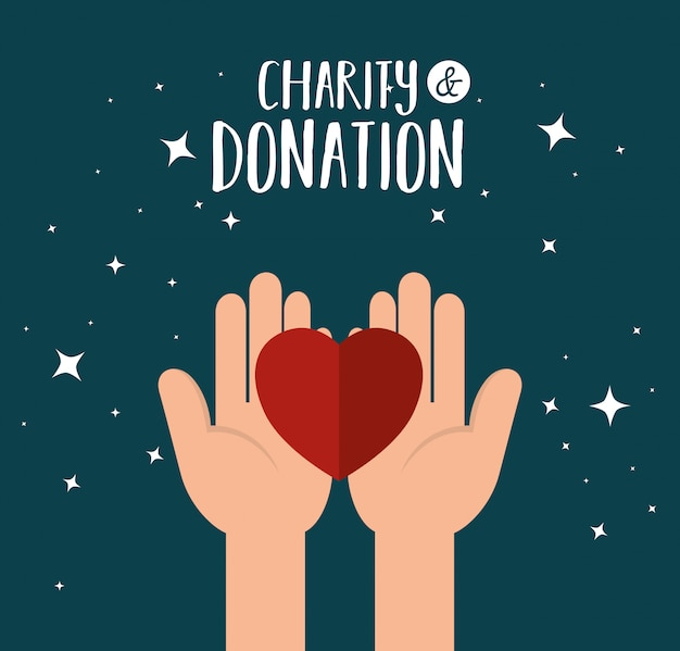 Hands with heart for charity donation Free Vector