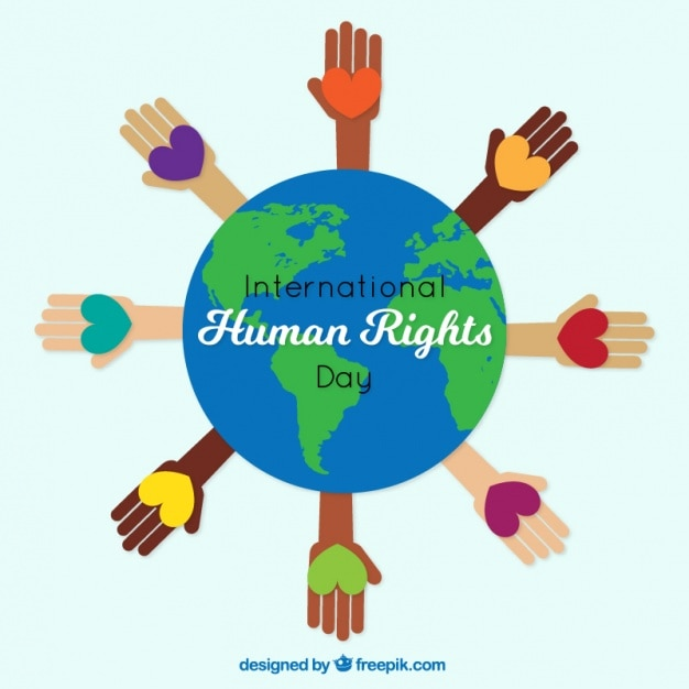 Hands with hearts around the world, human rights day