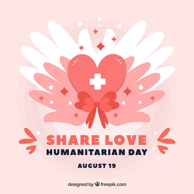 Hands with hearts background of humanitarian day