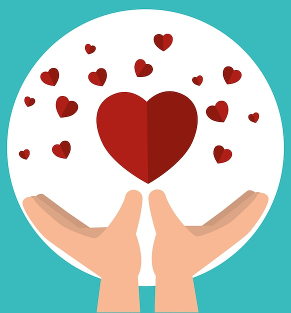 Hands with hearts for charity donation Free Vector